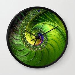 Green Luminescent fractal swirl Wall Clock