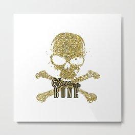 White Glam to the Bone Skull Metal Print