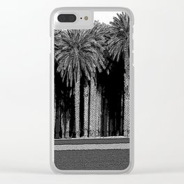 Black & White Date Palms Yuma Pencil Drawing Photo Clear iPhone Case