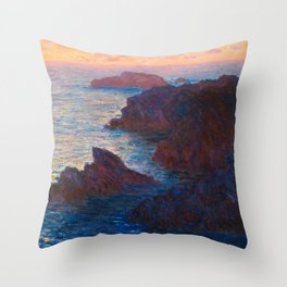 Claude Monet Impressionist Landscape Oil Painting Sunset At Sea Cliffs Ocean Cliff Landscape Throw Pillow