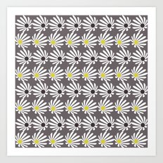 Mod Flowers Gray Art Print