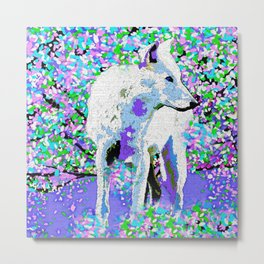 White Wolf and Pastels Purple Pink Blue Metal Print