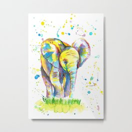 Baby Elephant - Watercolor Painting Print Metal Print