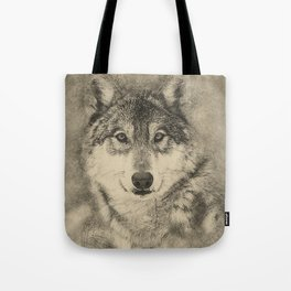 Timber Wolf Pencil Illustration Tote Bag