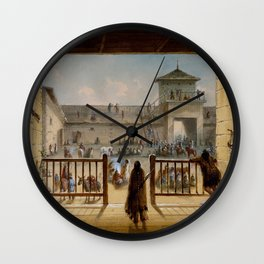 Alfred Jacob Miller - Interior of Fort Laramie (1860) Wall Clock