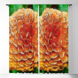 Dahlia rose painting with a green background Blackout Curtain