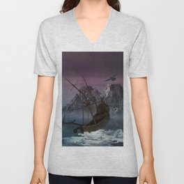Awesome shipwreck in the night Unisex V-Neck