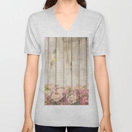 Vintage Rustic Romantic Roses Wooden Plank Unisex V-Neck