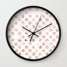 Pretty Pink Collage Dots Pattern Wall Clock