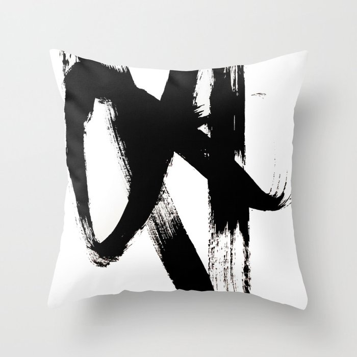 Brushstroke 2 - simple black and white Deko-Kissen