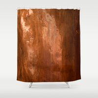 copper Shower Curtains featuring copper by gaus
