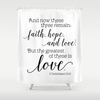 scripture Shower Curtains featuring The greatest of these is love by Noonday Design