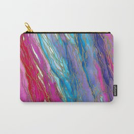 AGATE MAGIC PinkAqua Red Lavender, Marble Geode Natural Stone Inspired Watercolor Abstract Painting Carry-All Pouch