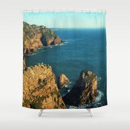 Cabo da Roca, Portugal Analog 6x6 Kodak Ektar 100 (RR 160) Shower Curtain