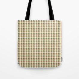 Small Orange White and Green Irish Gingham Check Plaid Tote Bag