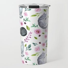 Watercolor Cats and Flowers Pattern Travel Mug
