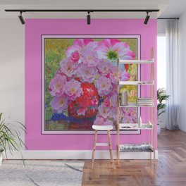 PINK AND MORE PINK ROSES RED VASE ART Wall Mural