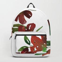 Autumn Watercolor Burgundy Flowers Backpack