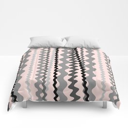 Black and Grey hand drawn vertical stripes on pink - Mix & Match with Simplicity of Life Comforters