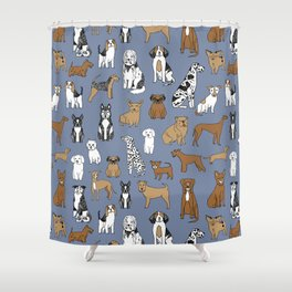 Dogs pattern minimal drawing dog breeds cute pattern gifts by andrea lauren Shower Curtain