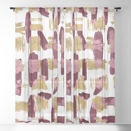 Modern burgundy pink gold watercolor brushstrokes Sheer Curtain