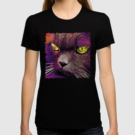 persian cat great eyes evil look vector art late sunset T-shirt