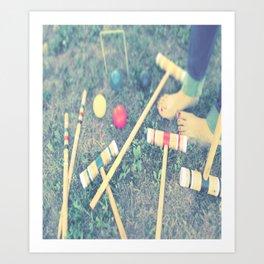 Red, Green, Yellow, Croquet, Grass, Toes, Summer, Art Print