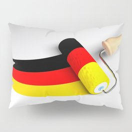 Roller paint brush giving to a white surface the colors of the german flag - 3D rendering illustrati Pillow Sham