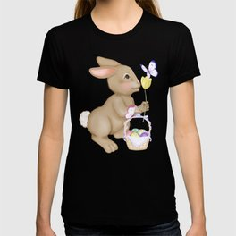 Brown Bunny and Basket T-shirt