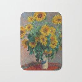 Bouquet of Sunflowers by Claude Monet Bath Mat