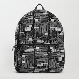 Black and White Linear Ethnic Print Pattern Backpack