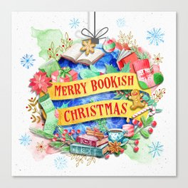 Merry Bookish Christmas Canvas Print