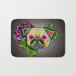Pug in Fawn - Day of the Dead Sugar Skull Dog Bath Mat