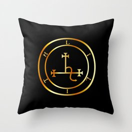 Sigil of Lilith- Female demon Lilith symbol in gold Throw Pillow