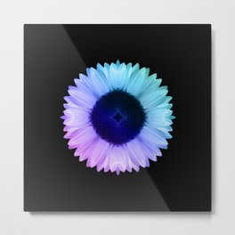 Iridescent Geometric Sunflower Decor \\ Symmetrical Flowers Pink Purple Blue Nature Bohemian Style Metal Print