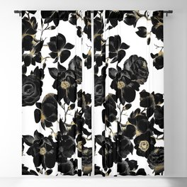 Modern Elegant Black White and Gold Floral Pattern Blackout Curtain