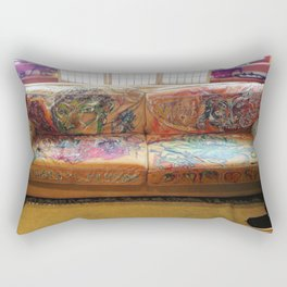 """""""Famous Late Night Painted Sofa"""" - nice, very old Italian Leather Sofa I painted. Rectangular Pillow"""