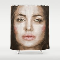 angelina jolie Shower Curtains featuring Jolie by Dnzsea