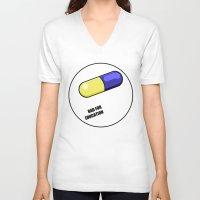 akira V-neck T-shirts featuring akira pill by tama-durden