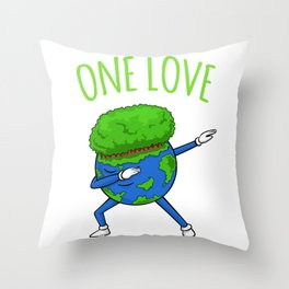 One Love Dabbing Earth - Earth Day Throw Pillow
