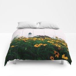 Portland Headlight and Flowers Comforters