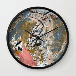 Symphony [2]: colorful abstract piece in gray, brown, pink, black and white Wall Clock