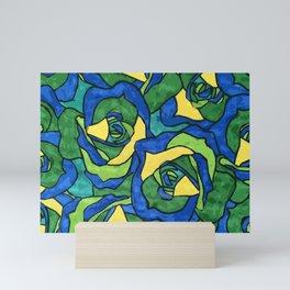 Blue and Green Roses Pattern Mini Art Print