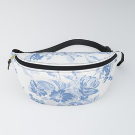 Modern navy blue white watercolor elegant floral Fanny Pack