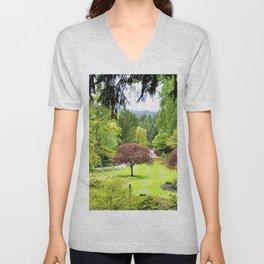 canada butchart gardens trees garden Unisex V-Neck