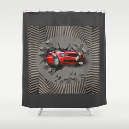 Red Car Crashing Through a Wall Shower Curtain