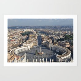 Piazza san pietro with its surroundings and whole rome city view in a sunny day from up Art Print