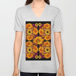 Sunflowers Burgundy Pattern Black Art Unisex V-Neck