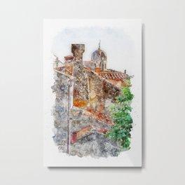Aquarelle sketch art. Roofs and walls shoot of typical buildings in Dubrovnik, Croatia Metal Print