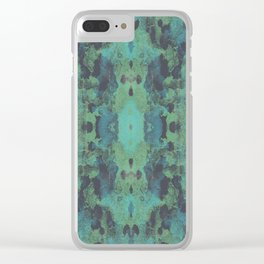 Sycamore Kaleidoscope - Graphite blue green Clear iPhone Case